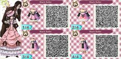 Black Butler designed in Animal Crossing New Leaf. Someone asked me to make this one, haven't had a chance to see this show but I've heard great things :)