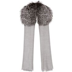 Valentino Fur-Trimmed Cashmere Scarf (33.485 ARS) ❤ liked on Polyvore featuring accessories, scarves, grey, gray shawl, fur trim shawl, grey scarves, grey shawl and gray scarves