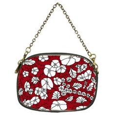 Red White Black Flowers Chain Purse from CircusValley Mall Black Flowers, One Sided, Party Accessories, Brass Color, Red And White, Purses, Chain, Unique, Floral