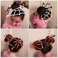 50 Incredible Halloween Hairstyles Super cute pipe cleaner hairstyles - spider and pumpkin patch buns. Love this idea for Halloween, Thanksgiving and maybe even crazy hair day! Crazy Hat Day, Crazy Hair Day At School, Crazy Hats, Little Girl Hairstyles, Hairstyles For School, Cute Hairstyles, Halloween Hairstyles, Maquillage Halloween Simple, Wacky Hair Days