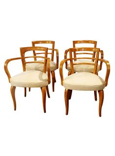 """Bold, natural lines: Set Of Four Antique French Art Deco """"Bridge"""" Chairs 