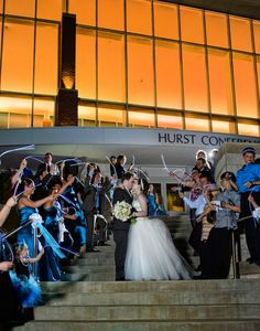 bride & groom, wedding party, glow sticks.  Wedding at Hurst Conference Center, by Ivey Photography.