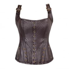 PU Leather Brown Steampunk Quilted Overbust with Adjustable Straps