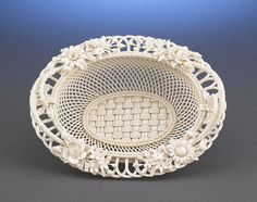 "Belleek ""Four Strand"" porcelain Oval Basket"