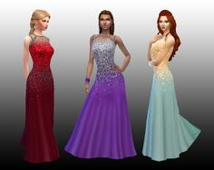 The Sims 4 | My Stuff: Luxury Party Stuff Long Dress Flare Sequin Scatter Made Longer | CAS clothing full body female adult formal
