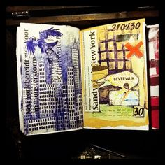 Bic City - collage and bic drawing on newsarticle in daily planner