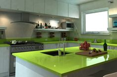 Green apple quartz | Comptoire de cuisine en quartz vert