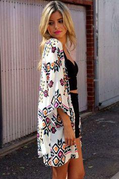 Off White Geometric Printed Kimono