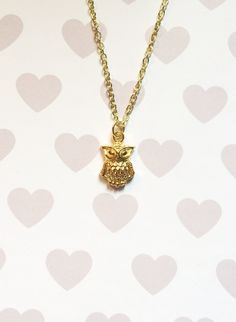 Owl Charm Necklace by strawberriesncreamm on Etsy