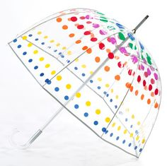 Totes Clear Bubble Umbrella with Primary Dots ....this is just so fun:D Makes the rain a bit more tolerable....