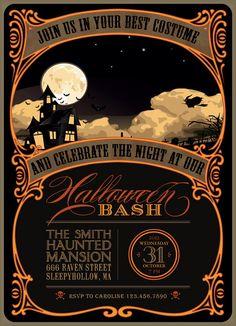Printable Halloween Invitation in black, orange and yellow - DIY party invitation.