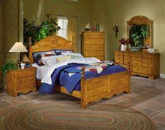 Bedroom Sets : Traditional bedroom furniture set golden oak finish ...
