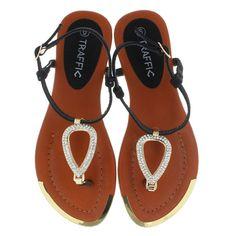 Enara Black Sling Back Rhinestone Flat Sandals