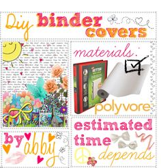 """DIY binder covers//♥"" by tipstotrust ❤ liked on Polyvore"