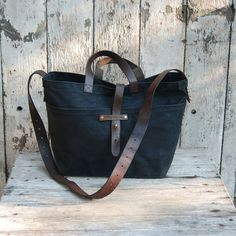 Waxed Canvas Tote Coal antique leather and fabric by PegandAwl, $230.00  can i have this one ,too?