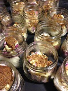 Mason Jar of Berry Cheesecake, Lime Curd, Brown Butter Streusel & Louisville Cream's Lemon Poppyseed Ice Cream  #louisvillecream #masonjar #crushediceevents