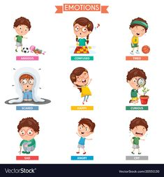 Emotions vector image on VectorStock Emotion Words, Toddler Learning Activities, Cute Clipart, Feelings And Emotions, Study Materials, Kids Education, Adobe Illustrator, Cute Pictures, Vector Free