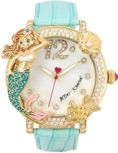 Betsey Johnson Women's Mermaid & Fish Gold-Tone Mint Green Leather Strap Watch 44mm novelty! #watches