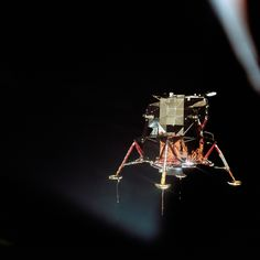 The Apollo 11 lunar module Eagle is seen from the Columbia command module in this photograph by command module pilot Michael Collins on July 20, 1969. Aboard the Eagle, Apollo 11 commander Neil Armstrong and lunar module pilot Buzz Aldrin prepared to land on the surface of the moon for the first time.<br />
