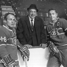 "Henri Richard, ""Toe"" Blake and Jean Beliveau Montreal Canadiens, Mtl Canadiens, Hockey Games, Ice Hockey, Team Player, Hockey Players, Nhl, Hockey Season, Boot Camp"