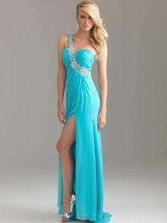 A-line One Shoulder Ruffles Sleeveless Floor-length Chiffon Blue Prom Dress #prom #one-shoulder #long #dress #myesoul