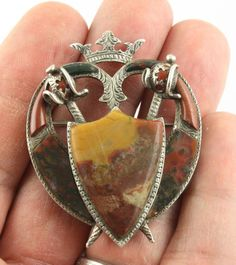 Superb large antique Victorian 1874 silver Scottish agate pebble brooch pin