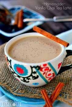 Comfort in a cup! Now you can make your own Vanilla Chai Tea Latte at home! | MomOnTimeout.com @Trish - Mom On Timeout