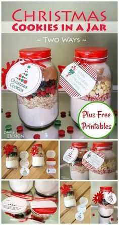 Christmas jar gifts - Christmas Cookies in a Jar DIY Gift Free Printables – Christmas jar gifts Diy Gifts For Christmas, Diy Gifts In A Jar, Mason Jar Christmas Gifts, Christmas Cookie Jars, Christmas Treats, Christmas Recipes, Gift Jars, Diy Gifts Homemade, Christmas Hamper Ideas Homemade