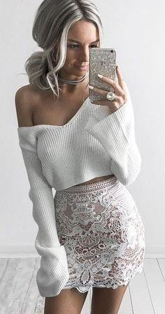 #goddess #kleopatra #eboutique #outfits | White Knit + White Lace