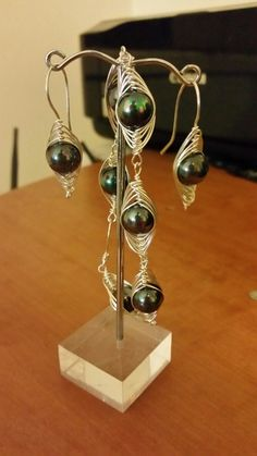 Wire wraped bracelete and earring sterling silver