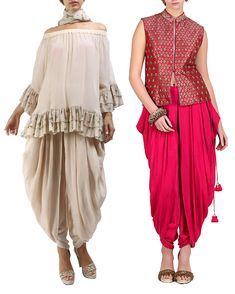 Nikasha. Champagne grey cold shoulder top, cowl dhoti pants in crepe. Pink mandarin collar sleeveless jacket tailored in brocade accentuated with embroidery, cowl dhoti pants in crepe
