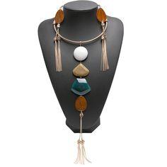 Latest Design Statement Choker Necklace Z Brand  Big Semi-precious Stone Long Tassel Fashion Necklaces Women Necklaces Jewelry