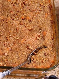 Streuseled Sweet Potato Casserole - Essential & Charming Recipe: sweet potatoes, cream, maple syrup, vanilla extract, salt, large eggs, all-purpose flour, brown sugar, butter, chopped pecans
