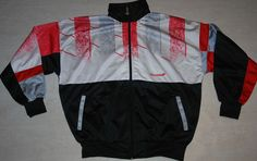 VINTAGE RUCANOR TRACKSUIT TOP JACKET SHINE NYLON IBIZA BLACK WHITE RED M L