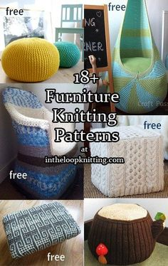 Knitting patterns for ottomans, foot stools, poufs, and more. Most are free knitting patterns