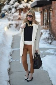 Great look using neutrals - black, camel and cream.