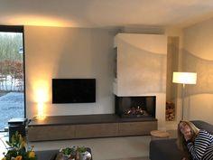 Living Room Decor Fireplace, Living Room Redo, Home Fireplace, Modern Fireplace, Fireplace Design, Home Living Room, Tv Stand Room Divider, Modern Tv Room, Fireplace Suites