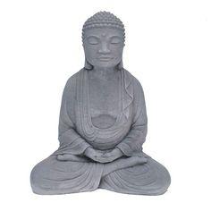 Cast Stone Classic Meditating Buddha Garden Indoor/Outdoor Statue Antique Gray #NicholsBrosStoneworks