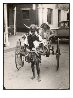 Horned Rickshaw Man in Bulawayo, Zimbabwe - then-Southern Rhodesia.I wonder what year this was.