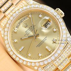 This is an authentic quickset Rolex President watch with a factory Rolex diamond dial, an original yellow gold president band with added genuine diamonds, a custom yellow gold CT diamond bezel, and added diamonds on the lugs. Elegant Watches, Stylish Watches, Luxury Watches For Men, Beautiful Watches, Rolex Watches For Men, Rolex Air King, Rolex Gmt Master, Cartier, Piaget Jewelry