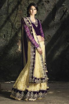 Lucknowi net Ghagra / Lehenga @Benzer with contrasting velvet long blouse, embellished with zari, and stone work, along with net dupatta