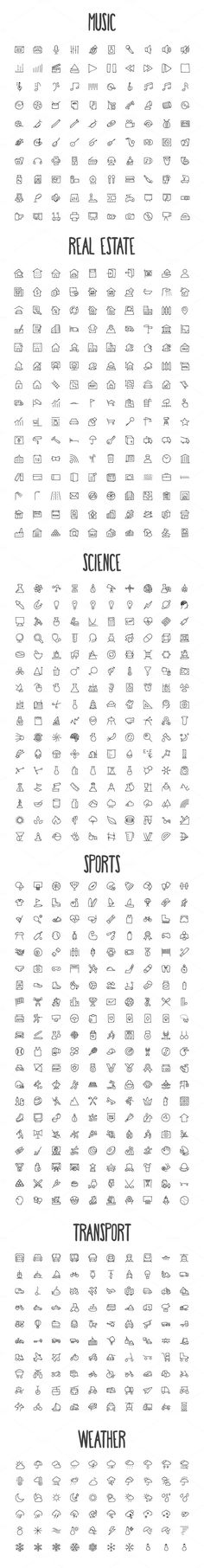 2440 Hand Drawn Doodle Icons Bundle by Creative Stall on Creative Market: