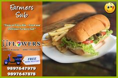 Taste in every Bite . Delicious Farmers Sub . at 11 FLOWERS Restaurant in Vrindavan. You can also Order it from the comfort of your place with a FREE Home Delivery! Hot Dog Buns, Farmers, Rooftop, Delivery, Vegetarian, Restaurant, Pure Products, Meals, Vegan