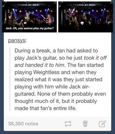 That is so cool. Takes a lot of trust to hand your guitar to someone you don't know. It means the fans have earned trust and respect