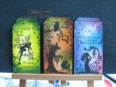 Tags with lavinia Stamps & Tim Holtz Make beautiful cards and gifts using a unique range of clear stamps, created by Tracey Dutton from Lavinia Stamps. Magical mystical and Floral images, which include a wonderful range of silhouette Fairies