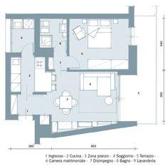 pianta Studio Floor Plans, Small Floor Plans, Small House Plans, Small Space Living, Small Spaces, Cabin Design, House Design, One Bedroom House Plans, Single Apartment