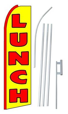 Auto Body and Paint// Installation King Size Swooper Flag Sign with Pole and Full Assembly Pack of 2