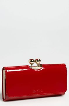Ted Baker Crystal Bobble Matinee Wallet in Red (dark red)