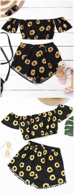 Up to 80% OFF! Sunflower Crop Top And Pompoms Shorts Set. #Zaful #TwoPieces zaful,zaful outfits,zaful dresses,spring outfits,summer dresses,Valentine's Day,valentines day ideas,cute,casual,classy,lace,mesh,fashion,style,bottoms,shorts,jumpsuits,rompers,playsuits,playsuit outfit,dressy jumpsuits,playsuits two piece,two piece outfits,two piece dresses,dresses,printed dresses,sundresses,long sleeve dresses,mini dresses,maxi dresses,lace dress,bohemian dresses @zaful Extra 10% OFF Code:ZF2017