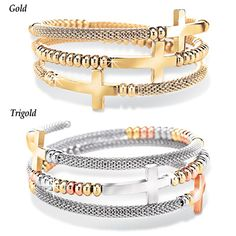 Beaded Cross Coil Wrap Bracelet